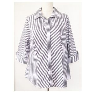 LANE BRYANT Striped Button Shirt Size 18